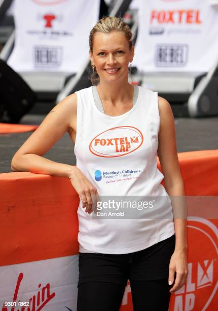 Model Sarah Murdoch takes part in The Foxtel Lap 2009 whereby teams of 20 compete to run or walk as many 100m laps for charity at Martin Place on...