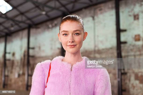Model Sarah Pauley wears an Elliot Ward Fear top at MercedesBenz Fashion Week Australia 2015 at Carriageworks on April 14 2015 in Sydney Australia