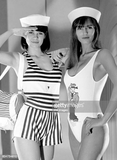 Model Sarah wears a navy and white striped vest with matching shorts priced at 1199 Hayley shows off a white 'Matelot' onepiece bathing costume in...