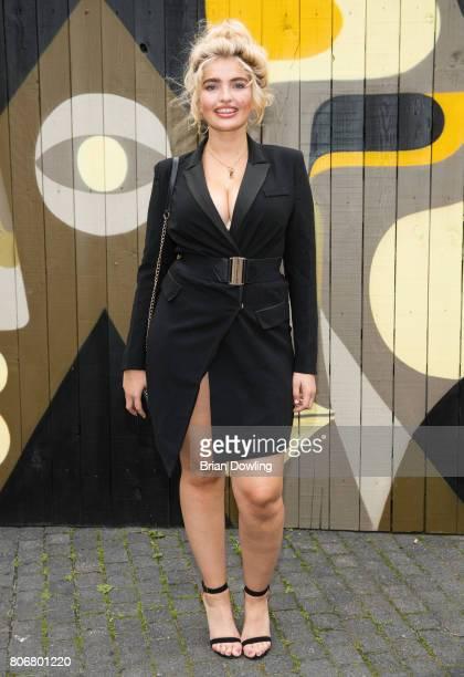 Model Sarina Nowak arrives in a black Ro De dress at the Bloty Award 2017 Deutscher Bloggerpreis by HashMag at Spreewerkstaetten on July 3 2017 in...