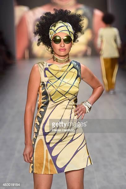 Model Sarina Nowak walks the runway at the Miranda Konstantinidou show during the MercedesBenz Fashion Week Spring/Summer 2015 at Erika Hess...