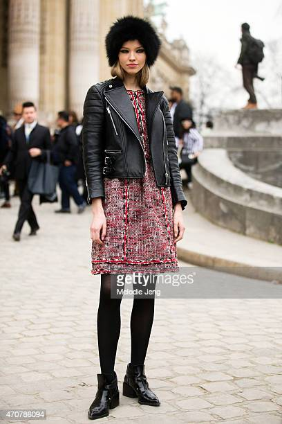 Model Sasha Luss exits the Chanel show at Grand Palais on Day 8 of Paris Fashion Week FW15 on March 10 2015 in Paris France