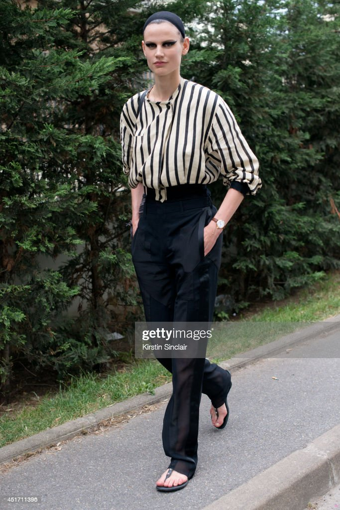 Model Saskia De Brauw on day 3 of Paris Collections: Men on JUNE 27, 2014 in Paris, France.