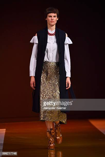 Model Saskia de Brauw walks the runway at the Zalando fashion show during the Bread Butter by Zalando at arena Berlin on September 4 2016 in Berlin...