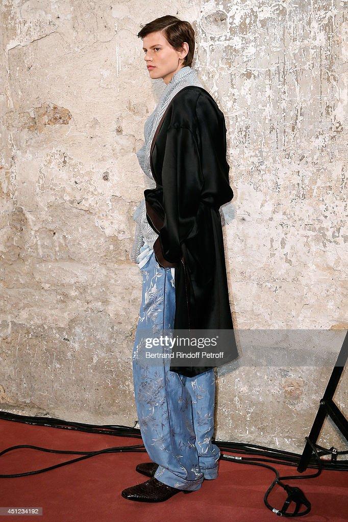 Model Saskia Debrauw walks the runway during the Haider Ackermann show as part of the Paris Fashion Week Menswear Spring/Summer 2015 on June 25, 2014 in Paris, France.