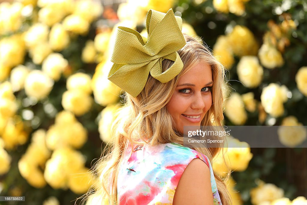 Model Scherri Lee Biggs poses for a photo in the birdcage on Oaks Day at Flemington Racecourse on November 8, 2012 in Melbourne, Australia.