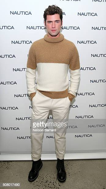 Model Sean O'Pry poses backstage at the Nautica Men's Fall 2016 fashion show during New York Fashion Week Men's Fall/Winter 2016 at Skylight Modern...