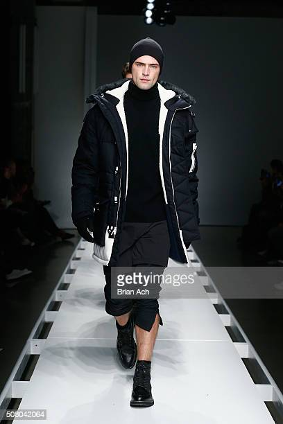 Model Sean O'Pry walks the runway with models at the Nautica Men's Fall 2016 fashion show during New York Fashion Week Men's Fall/Winter 2016 at...