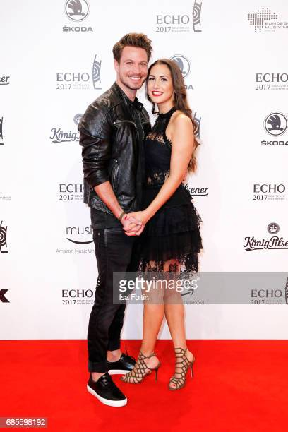 Model Sebastian Pannek and his girlfriend CleaLacy Juhn during the Echo award red carpet on April 6 2017 in Berlin Germany