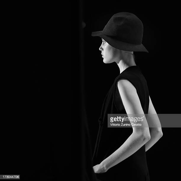 A model seen backstage ahead of the Umasan Show during MercedesBenz Fashion Week Spring/Summer 2014 at Brandenburg Gate on July 5 2013 in Berlin...