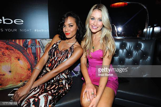 Model Selita Ebanks and actress Katrina Bowden attend the bebe celebration of the launch of their Fall 2013 #be9to5 campaign at Provocateur on August...