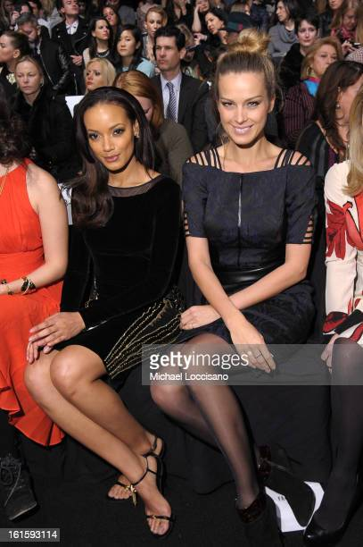 Model Selita Ebanks and Petra Nemcova attend the Badgley Mischka Fall 2013 fashion show during MercedesBenz Fashion Week at The Theatre at Lincoln...