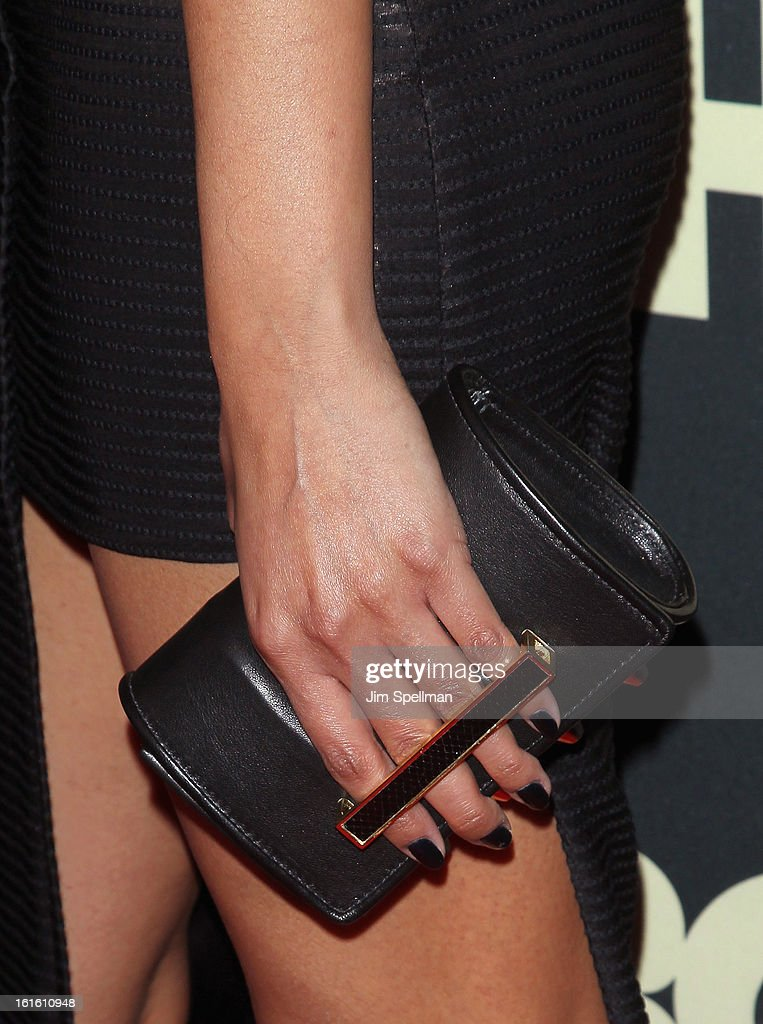 Model Selita Ebanks (bag detail) attends 'Beyonce: Life Is But A Dream' New York Premiere at Ziegfeld Theater on February 12, 2013 in New York City.