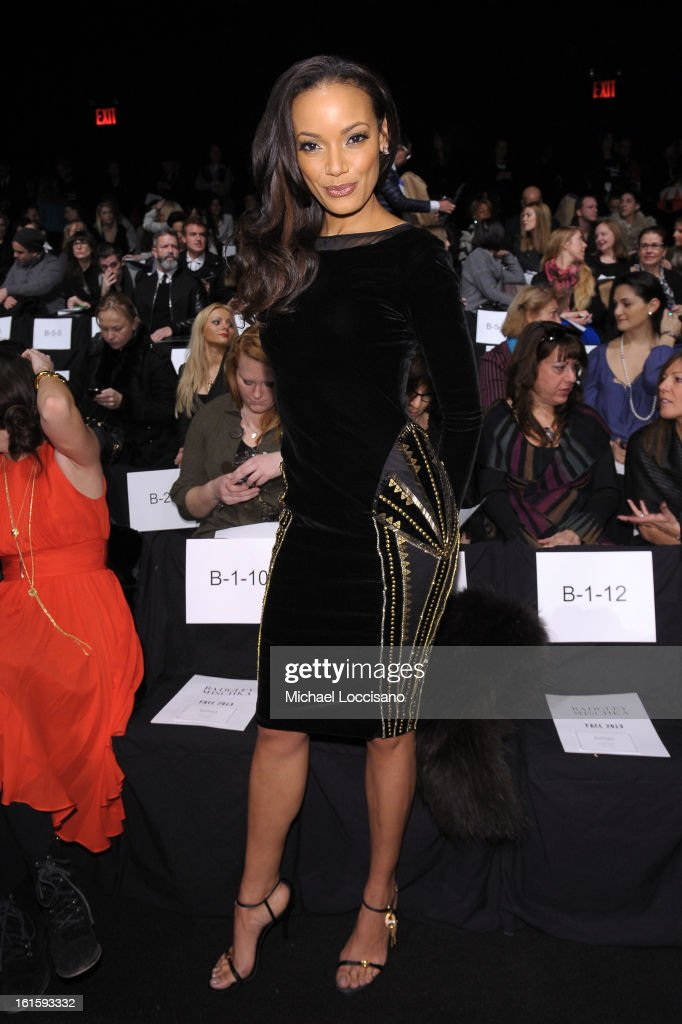 Model Selita Ebanks attends the Badgley Mischka Fall 2013 fashion show during Mercedes-Benz Fashion Week at The Theatre at Lincoln Center on February 12, 2013 in New York City.