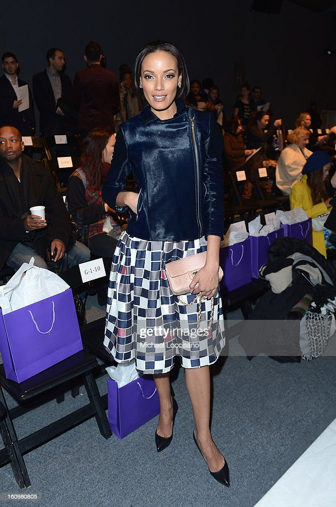 Model Selita Ebanks attends the Noon By Noor Fall 2013 fashion show during Mercedes-Benz Fashion at The Studio at Lincoln Center on February 8, 2013 in New York City.