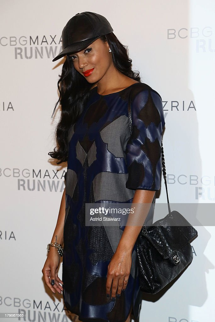 Model Selita Ebanks poses backstage at the BCBGMAXAZRIA Spring 2014 fashion show during Mercedes-Benz Fashion Week at The Theatre at Lincoln Center on September 5, 2013 in New York City.
