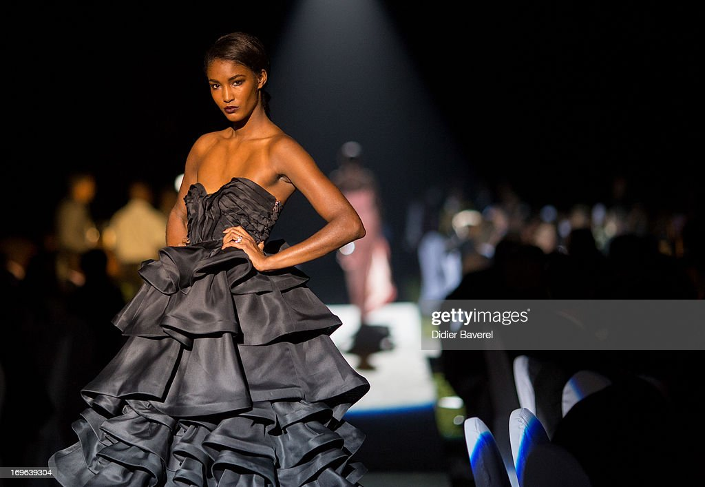 Model <a gi-track='captionPersonalityLinkClicked' href=/galleries/search?phrase=Sessilee+Lopez&family=editorial&specificpeople=4344091 ng-click='$event.stopPropagation()'>Sessilee Lopez</a> on the Made in Africa Gala catwalk show curated by Ozwald Boateng OBE at the IC Banker of the Year Awardsat the Taj Palace on May 29, 2013 in Marrakech, Morocco.