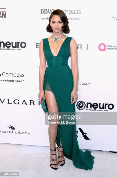 Model Shanina Shaik attends the 25th Annual Elton John AIDS Foundation's Academy Awards Viewing Party at The City of West Hollywood Park on February...