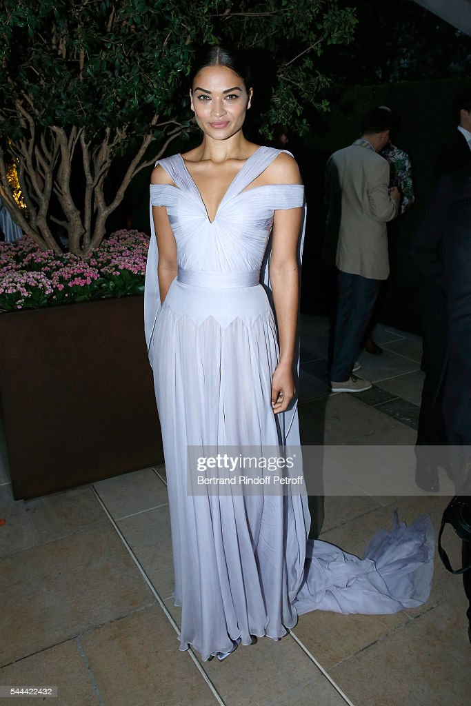 Model Shanina Shaik attends the Amfar Paris Dinner Stars gather for Amfar during the Haute Couture Week Held at The Peninsula Hotel on July 3 2016 in...