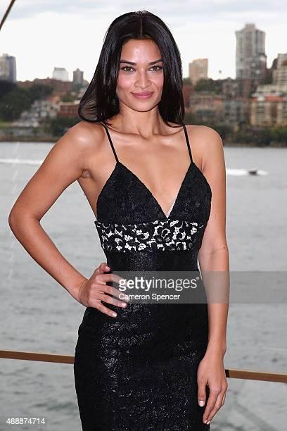 Model Shanina Shaik poses at Carla Zampatti's 50th anniversary show at the Sydney Opera House on April 8 2015 in Sydney Australia