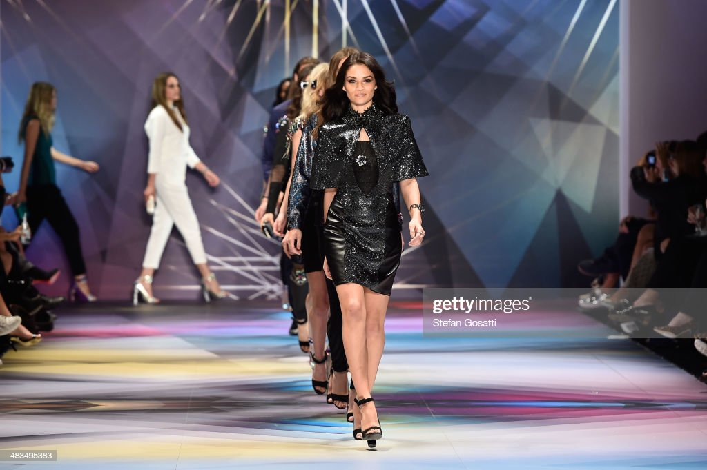 Model <a gi-track='captionPersonalityLinkClicked' href=/galleries/search?phrase=Shanina+Shaik&family=editorial&specificpeople=5556870 ng-click='$event.stopPropagation()'>Shanina Shaik</a> walks the runway at the Swarovski show during Mercedes-Benz Fashion Week Australia 2014 at Carriageworks on April 9, 2014 in Sydney, Australia.