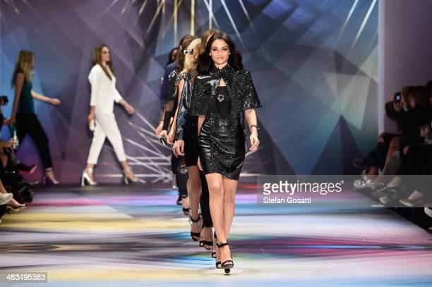 Model Shanina Shaik walks the runway at the Swarovski show during MercedesBenz Fashion Week Australia 2014 at Carriageworks on April 9 2014 in Sydney...