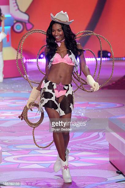 Model Sharam Diniz walks the runway during the Victoria's Secret 2012 Fashion Show on November 7 2012 in New York City