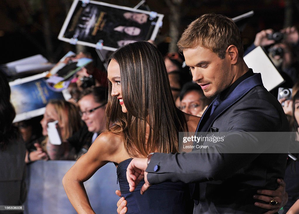 Model Sharni Vinson and actor Kellan Lutz arrive at 'The Twilight Saga: Breaking Dawn - Part 2' Los Angeles premiere at the Nokia Theatre L.A. Live on November 12, 2012 in Los Angeles, California.