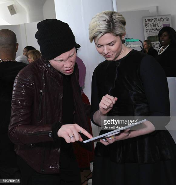 Model Shaun Ross and guest attend backstage at SheaMoisture at Laquan Smith F/W 2016 NYFW at Jack Studios on February 14 2016 in New York City