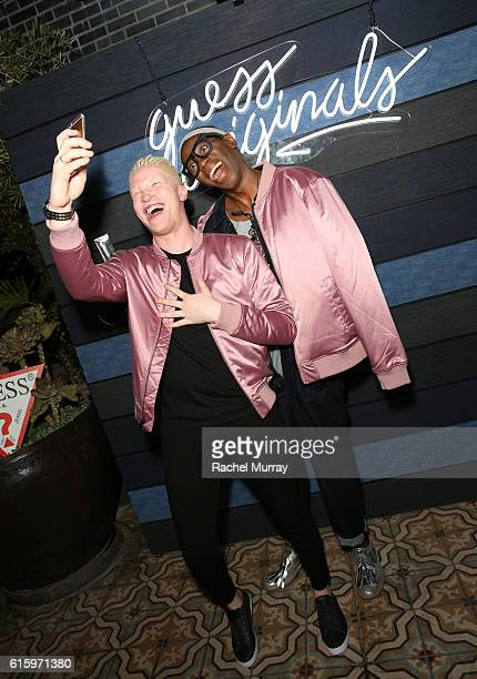 Model Shaun Ross and TV Personality/Fashion Expert Miss J Alexander attend the GUESS Originals cocktail party at Perch on October 20 2016 in Los...
