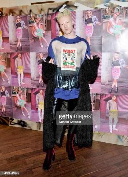 Model Shaun Ross attends the DL1961 campaign launch with Sofia Richie and Jasmine Sanders at The Nice Guy on March 8 2017 in Los Angeles California