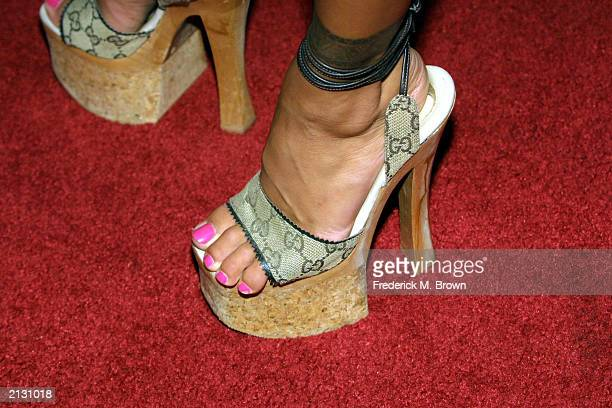 Model Shauna Sands presents a pair of shoes at the Los Angeles film premiere of 'Legally Blond 2' at the Mann National Theatre on July 1 2003 in...