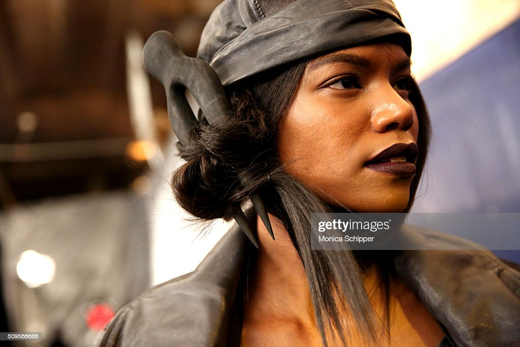 Model Sherica Maynard prepares backstage at the Nicholas K Fall 2016 fashion show during New York Fashion Week: The Shows at The Dock, Skylight at Moynihan Station on February 11, 2016 in New York City.