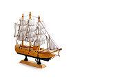 Model ship on white background