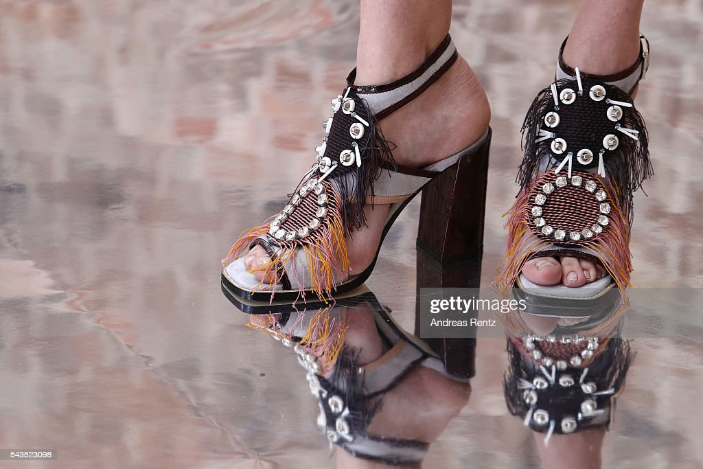 A model, shoe detail, is seen backstage ahead of the Dorothee Schumacher show during the Mercedes-Benz Fashion Week Berlin Spring/Summer 2017 at Elisabethkirche on June 29, 2016 in Berlin, Germany.