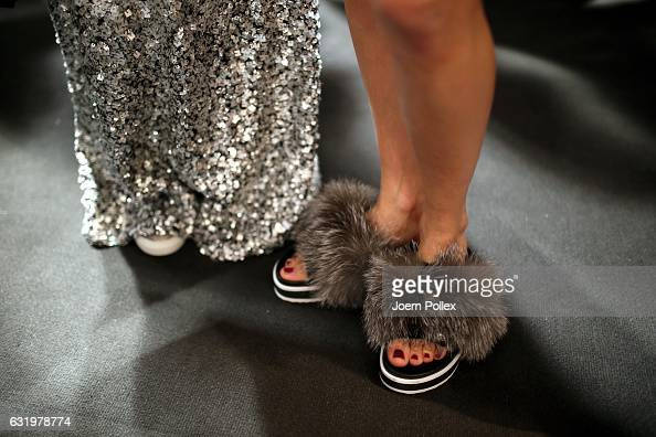 A model shoe detail is seen backstage ahead of the Laurel show during the MercedesBenz Fashion Week Berlin A/W 2017 at Kaufhaus Jandorf on January 18...