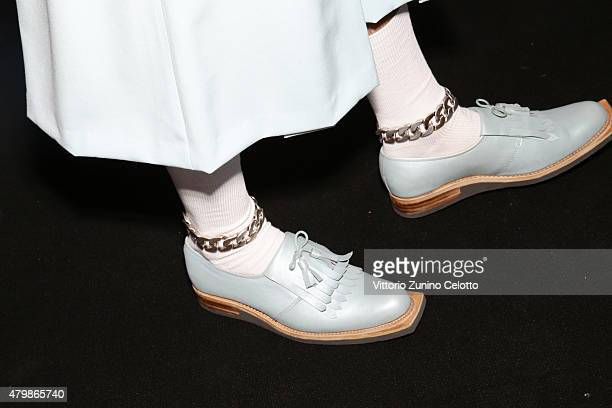 A model shoe detail is seen backstage ahead of the Sadak show during the MercedesBenz Fashion Week Berlin Spring/Summer 2016 at Brandenburg Gate on...