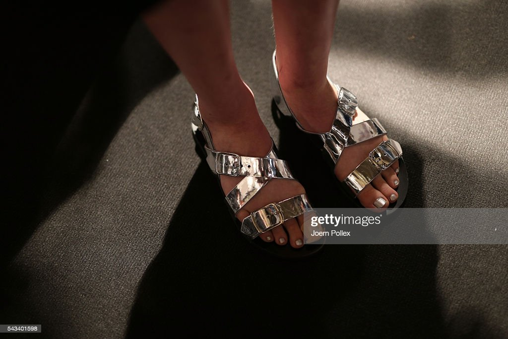 A model, shoe detail, is seen backstage ahead of the Steinrohner show during the Mercedes-Benz Fashion Week Berlin Spring/Summer 2017 at Erika Hess Eisstadion on June 28, 2016 in Berlin, Germany.