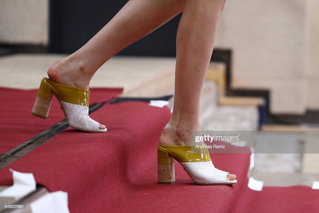 A model, shoe detail, is seen during the rehearsal ahead of the Dorothee Schumacher show during the Mercedes-Benz Fashion Week Berlin Spring/Summer 2017 at Elisabethkirche on June 29, 2016 in Berlin, Germany.
