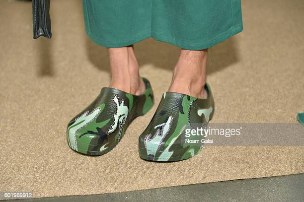 A model shoe detail poses at the Collina Strada fashion show during New York Fashion Week September 2016 at Pier 59 Studios on September 10 2016 in...