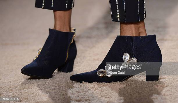 A model shoe detail walks at the AREA presentation during Fall 2016 MADE Fashion Week at The Standard Hotel on February 11 2016 in New York City