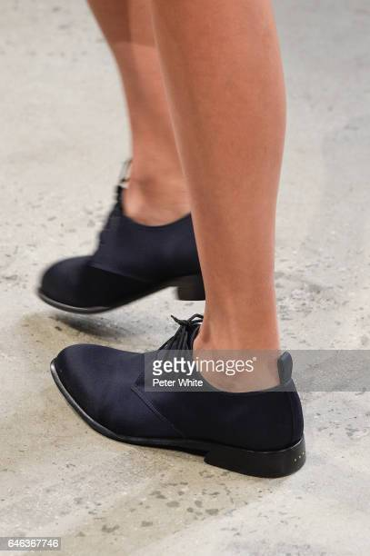 A model shoe detail walks the runway at Brock Collection Show during New York Fashion Week Fall Winter 20172018 at Gallery 2 Skylight Clarkson Sq on...