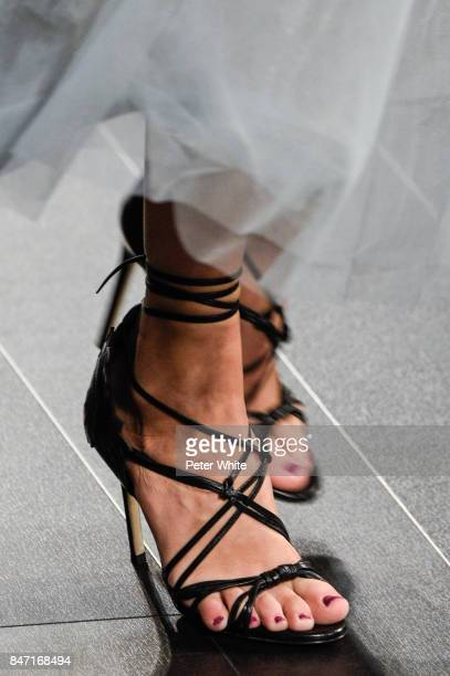 A model shoe detail walks the runway at Marchesa Spring 2018 during New York Fashion Week at Gallery 1 Skylight Clarkson Sq on September 13 2017 in...