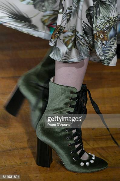 A model shoe detail walks the runway at the Blugirl show during Milan Fashion Week Fall/Winter 2017/18 on February 24 2017 in Milan Italy