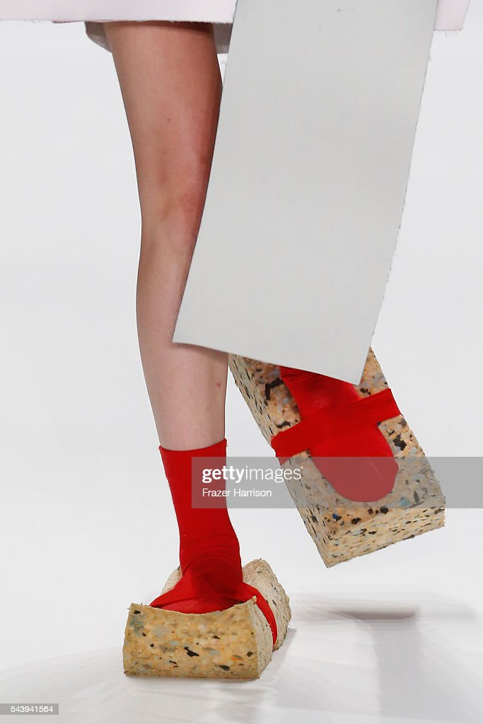 A model, shoe detail, walks the runway at the fashion talent award 'Designer for Tomorrow' by Peek & Cloppenburg and Fashion ID hosted by Alber Elbaz during the Mercedes-Benz Fashion Week Berlin Spring/Summer 2017 at Erika Hess Eisstadion on June 30, 2016 in Berlin, Germany.