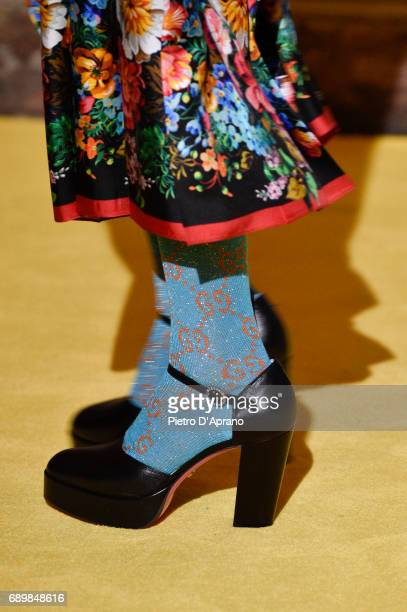 A model shoe detail walks the runway at the Gucci Cruise 2018 show at Palazzo Pitti on May 29 2017 in Florence Italy