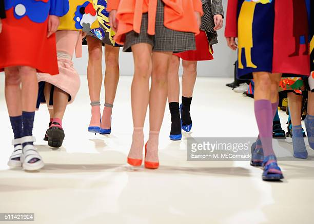 A model shoe detail walks the runway at the Leaf Xia show at Fashion Scout during London Fashion Week Autumn/Winter 2016/17 at Freemasons' Hall on...