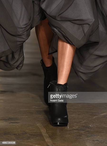 A model shoe detail walks the runway at the Morgane Le Fay fashion show during Spring 2016 New York Fashion Week at Hudson Studios on September 14...
