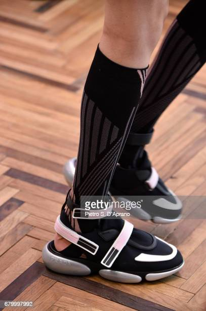 A model shoe detail walks the runway at the Prada Resort Collection 2018 show at Osservatorio Prada on May 7 2017 in Milan Italy