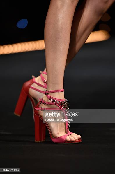 A model shoe detail walks the runway during the Alexis Mabille show as part of the Paris Fashion Week Womenswear Spring/Summer 2016 on September 30...